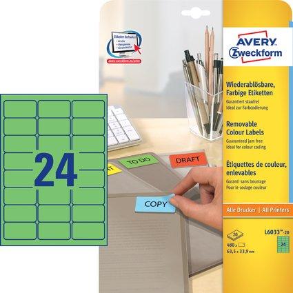 AVERY Zweckform Universal-Etiketten, 63,5 x 33,9 mm, grün