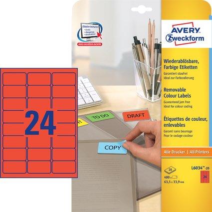 AVERY Zweckform Universal-Etiketten, 63,5 x 33,9 mm, rot