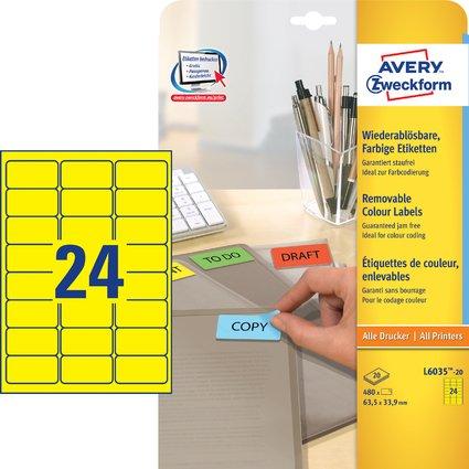 AVERY Zweckform Universal-Etiketten, 63,5 x 33,9 mm, gelb