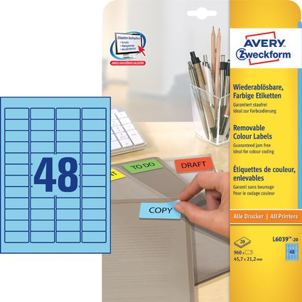 AVERY Zweckform Mini-Etiketten, 45,7 x 21,2 mm, blau