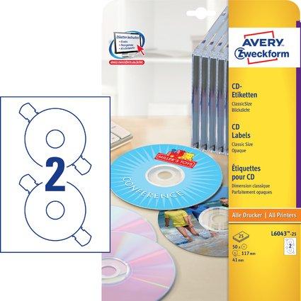 AVERY Zweckform CD-Etiketten ClassicSize, weiß