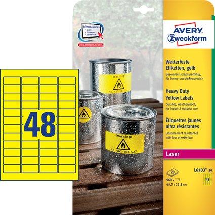 AVERY Zweckform Folien-Etiketten, 45,7 x 21,2 mm, gelb