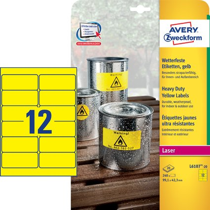 AVERY Zweckform Folien-Etiketten, 99,1 x 42,3 mm, gelb