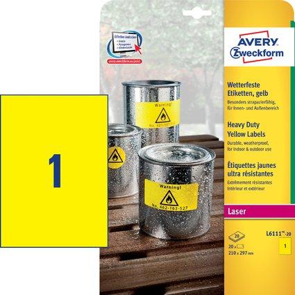 AVERY Zweckform Folien-Etiketten, 210 x 297 mm, gelb