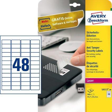 AVERY Zweckform Sicherheitsetiketten, 45,7 x 21,2 mm