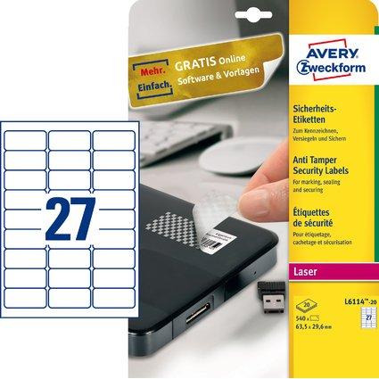 AVERY Zweckform Sicherheitsetiketten, 63,5 x 29,6 mm