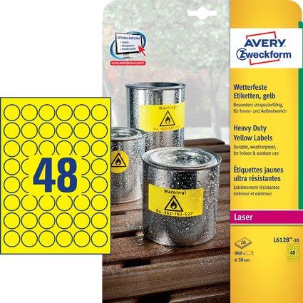 AVERY Zweckform Folien-Etiketten, Durchmesser: 30 mm, gelb