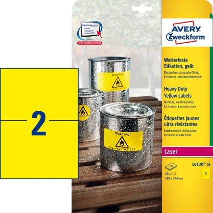 AVERY Zweckform Wetterfeste Etiketten, 210 x 148 mm, gelb