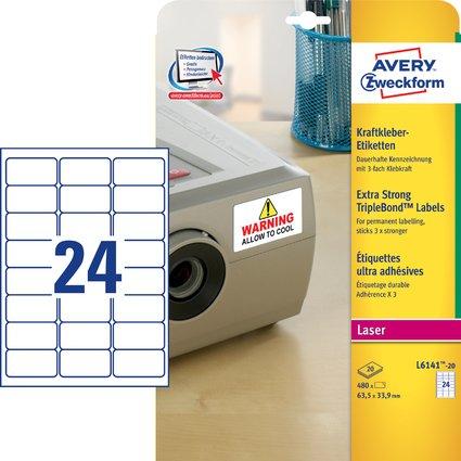 AVERY Zweckform Kraftkleber-Etiketten, 63,5 x 33,9 mm, weiß
