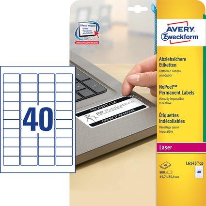 AVERY Zweckform Sicherheits-Etiketten, 45,7 x 25,4 mm, weiß