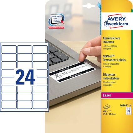 AVERY Zweckform Sicherheits-Etiketten, 63,5 x 33,9 mm, weiß