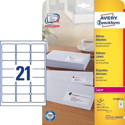 AVERY Zweckform QuickPEEL Adress-Etiketten, 63,5 x 38,1 mm