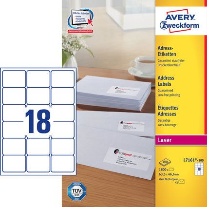 AVERY Zweckform QuickPEEL Adress-Etiketten, 63,5 x 46,6 mm