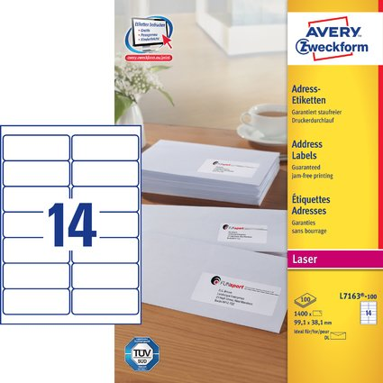 AVERY Zweckform QuickPEEL Adress-Etiketten, 99,1 x 38,1 mm