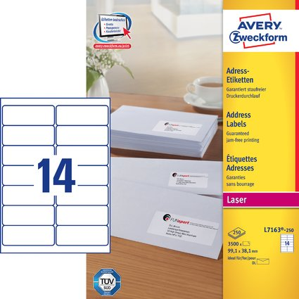 AVERY Zweckform QUICK PEEL Adress-Etiketten, 99,1 x 38,1 mm