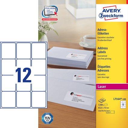 AVERY Zweckform Adress-Etiketten, 63,5 x 72,0 mm, weiß