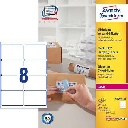 AVERY Zweckform Blickdichte Versand-Etiketten, 99,1 x 67,7mm