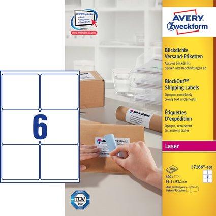 AVERY Zweckform Blickdichte Versand-Etiketten, 99,1 x 93,1mm