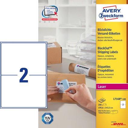 AVERY Zweckform Blickdichte Versand-Etiketten, 199,6x143,5mm