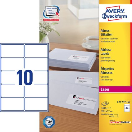 AVERY Zweckform QuickPEEL Adress-Etiketten, 99,1 x 57,0 mm