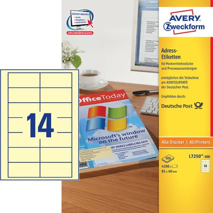 AVERY Zweckform Adress-Etiketten f. Postvertrieb, 85 x 40 mm