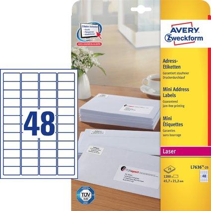 AVERY Zweckform Mini-Etiketten, 45,7 x 21,2 mm, weiß