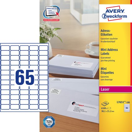AVERY Zweckform Mini-Etiketten, 38,1 x 21,2 mm, weiß