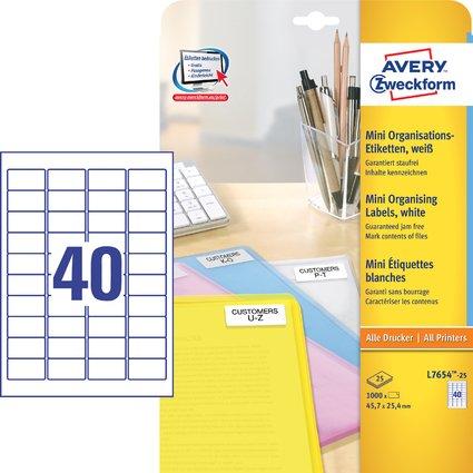 AVERY Zweckform Mini-Etiketten, 45,7 x 25,4 mm, weiß
