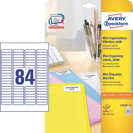 AVERY Zweckform Mini-Etiketten, 46,0 x 11,1 mm, weiß