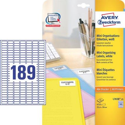 AVERY Zweckform Mini-Etiketten, 25,4 x 10 mm, weiß