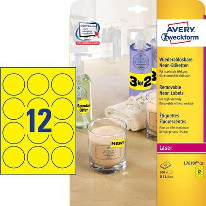 AVERY Zweckform Stick&Lift Etiketten, rund: 63,5 mm, gelb