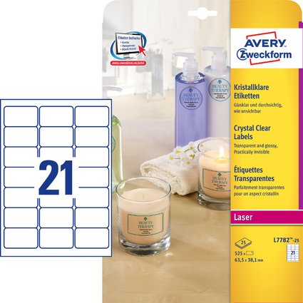 AVERY Zweckform Crystal Clear Etiketten, 63,5 x 38,1 mm