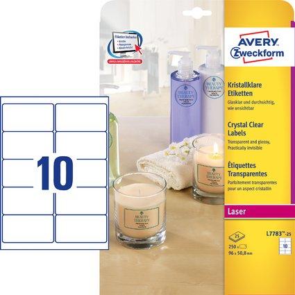AVERY Zweckform Crystal Clear Etiketten, 96 x 50,8 mm