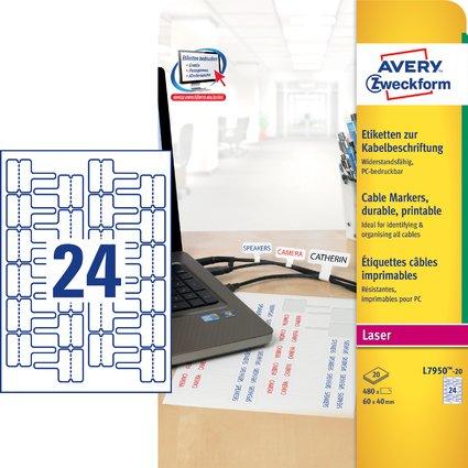 AVERY Zweckform Kabel-Etiketten, 60 x 40 mm, weiß, Laser