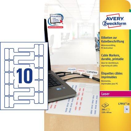 AVERY Zweckform Kabel-Etiketten, 110 x 49 mm, weiß, Laser