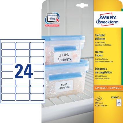 AVERY Zweckform Tiefkühl-Etiketten, 63,5 x 33,9 mm, weiß
