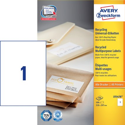 AVERY Zweckform Recycling Universal-Etiketten, 210 x 297 mm