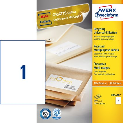 AVERY Zweckform Recycling Universal-Etiketten, 210 x 297 mm