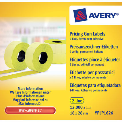 AVERY Zweckform Preisauszeichner-Etiketten, 26 x 16 mm, gelb