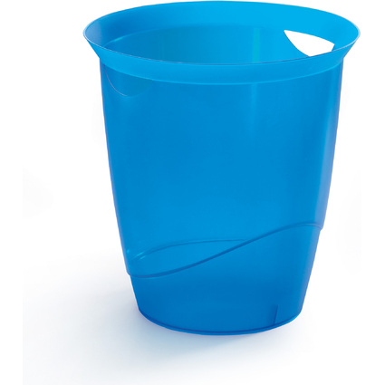 DURABLE Papierkorb TREND, 16 Liter, blau transluzent