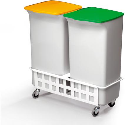 DURABLE Abfallbehälter-Set DURABIN SQUARE 40 mit Fahrwagen