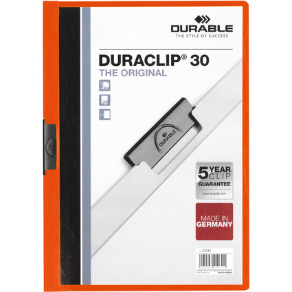 DURABLE Klemmhefter DURACLIP ORIGINAL 30, DIN A4, orange
