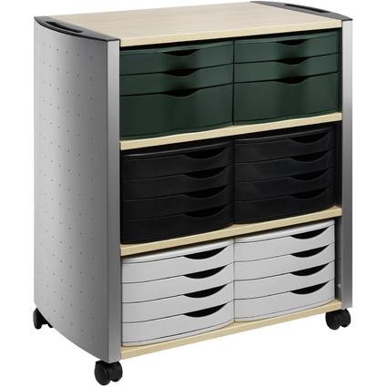 DURABLE DESIGN LINE Bürowagen L, metallic silber / ahorn