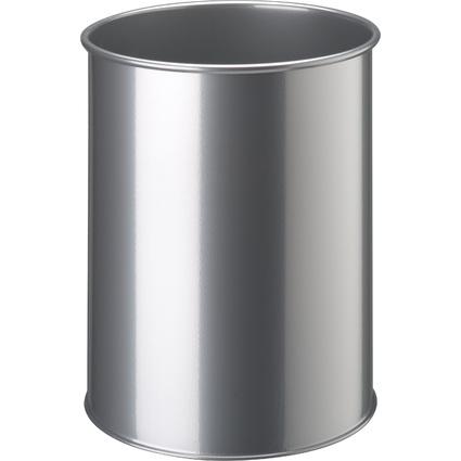 DURABLE Papierkorb METALL, rund, 15 Liter, metallic silber