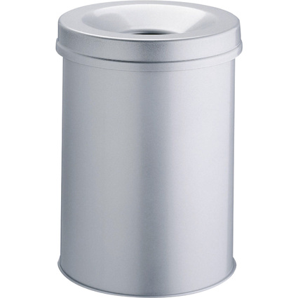 DURABLE Papierkorb SAFE, rund, 15 Liter, metallic silber