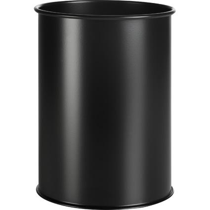 DURABLE Papierkorb METALL, rund, 9 Liter, schwarz