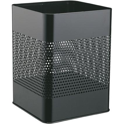 DURABLE Papierkorb METALL 18,5/P, eckig, 18,5 Liter, schwarz