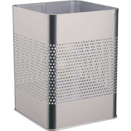 DURABLE Papierkorb METALL 18,5/P, eckig, 18,5 Liter, silber