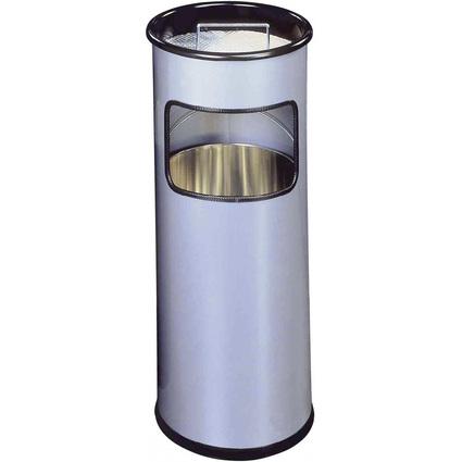 DURABLE Papierkorb METALL, mit Ascher, rund, metallic silber