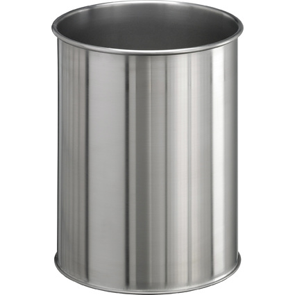 DURABLE Papierkorb EDELSTAHL, 15 Liter, metallic silber